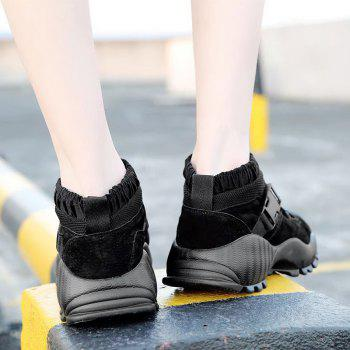 Buckle Straps Mesh Color Block Sneakers - BLACK BLACK