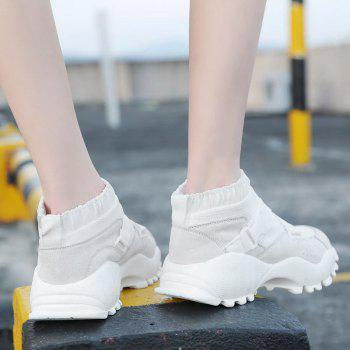 Buckle Straps Mesh Color Block Sneakers - WHITE 39