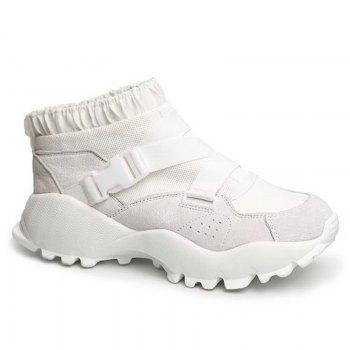 Buckle Straps Mesh Color Block Sneakers - WHITE 37