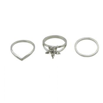 Artificial Crystal Flower Circle Ring Set -  SILVER