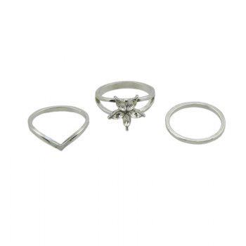 Artificial Crystal Flower Circle Ring Set - SILVER SILVER