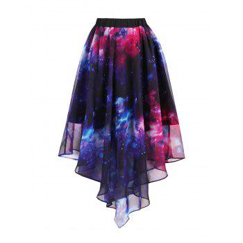 Chiffon Starry Sky Print Handkerchief Skirt - BLUE XL