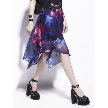 Chiffon Starry Sky Print Handkerchief Skirt - BLUE 2XL