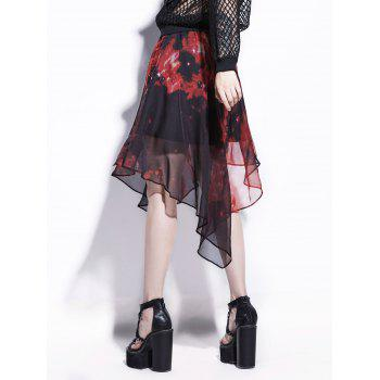 Chiffon Starry Sky Print Handkerchief Skirt - RED 2XL