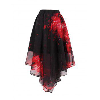 Chiffon Starry Sky Print Handkerchief Skirt - RED RED