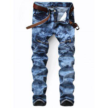 Tie Dye Zip Pocket Biker Jeans