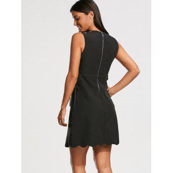 High Waisted Sleeveless Scalloped Little Black Dress - BLACK S
