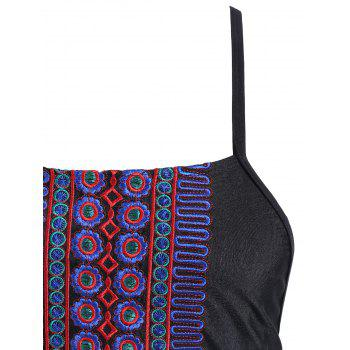 Plus Size Embroidered Lace Up Swimsuit - BLACK 2XL