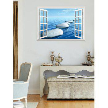 Window Ocean Stone Pattern 3D Wall Art Sticker - 48.5*72CM 48.5*72CM