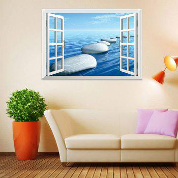 Window Ocean Stone Pattern 3D Wall Art Sticker - ICE BLUE ICE BLUE