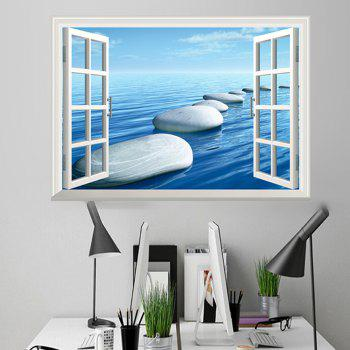Window Ocean Stone Pattern 3D Wall Art Sticker - ICE BLUE 48.5*72CM