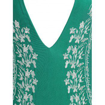 Halter Plus Size Embroidered Swimsuit - GREEN 2XL
