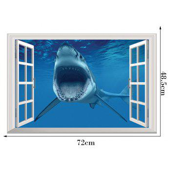 Window Shark 3D Wall Art Sticker For Bedrooms - 48.5*72CM 48.5*72CM