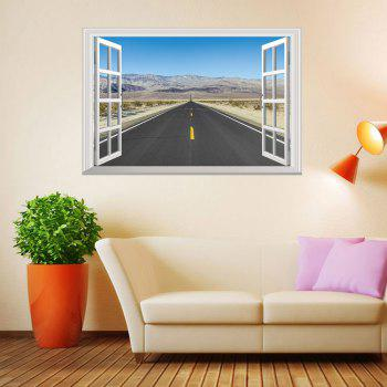 Window Highway Moutains Pattern 3D Wall Art Sticker - COLORMIX 48.5*72CM