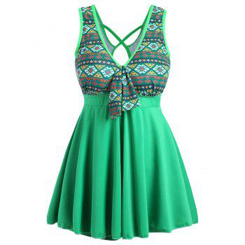 Plus Size Cross Back Skirted Swimsuit - GREEN GREEN