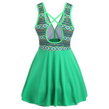 Plus Size Cross Back Skirted Swimsuit - GREEN 2XL