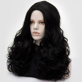 Long Middle Part Fluffy Layered Wavy Cosplay Lolita Wig - BLACK