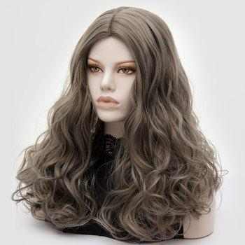 Longue partie médiane Fluffy Layered Wavy Cosplay Lolita Wig - Gris