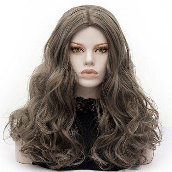 Long Middle Part Fluffy Layered Wavy Cosplay Lolita Wig - GRAY GRAY