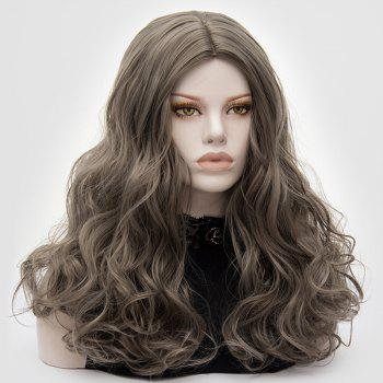Long Middle Part Fluffy Layered Wavy Cosplay Lolita Wig -  GRAY