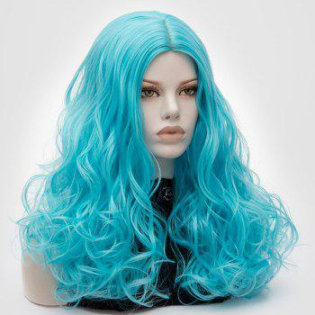 Long Middle Part Fluffy Layered Wavy Cosplay Lolita Wig -  BLUE