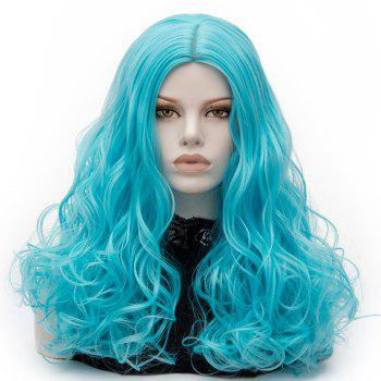 Long Middle Part Fluffy Layered Wavy Cosplay Lolita Wig - BLUE BLUE