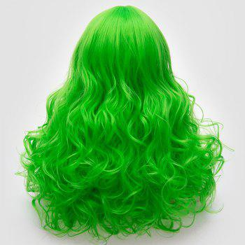 Long Middle Part Fluffy Layered Wavy Cosplay Lolita Wig - BRILLIANT GREEN