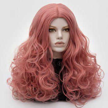 Longue partie médiane Fluffy Layered Wavy Cosplay Lolita Wig - Rose Fumé