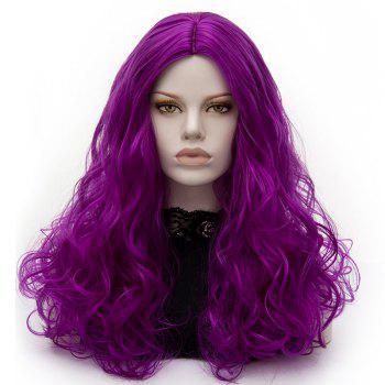 Long Middle Part Fluffy Layered Wavy Cosplay Lolita Wig - BRIGHT PURPLE BRIGHT PURPLE