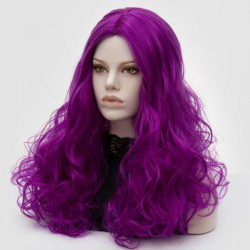 Long Middle Part Fluffy Layered Wavy Cosplay Lolita Wig -  BRIGHT PURPLE