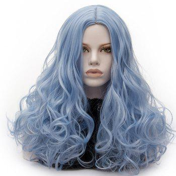 Long Middle Part Fluffy Layered Wavy Cosplay Lolita Wig - WINDSOR BLUE WINDSOR BLUE