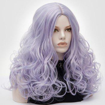 Long Middle Part Fluffy Layered Wavy Cosplay Lolita Wig -  PINKISH BLUE
