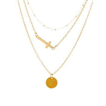 Crucifix Circle Disc Layered Pendant Necklace -  GOLDEN