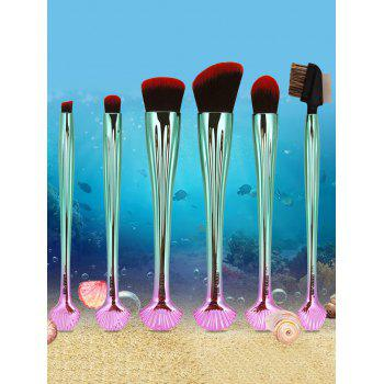 7Pcs Plated Shell Shape Ombre Makeup Brushes Set -  RED/BLACK