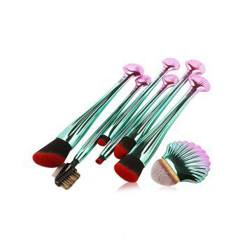 7Pcs Plated Shell Shape Ombre Makeup Brushes Set - RED WITH BLACK RED/BLACK