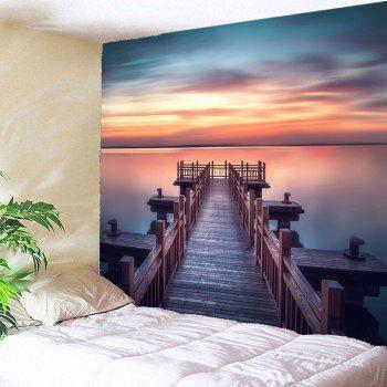 Sunset Wooden Bridge Waterproof Wall Tapestry - COLORFUL W79 INCH * L71 INCH