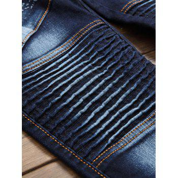 Zip Fly Flap Pocket Pleied Biker Jeans - Bleu 32