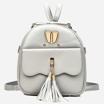 4 Pcs Tassels Faux Leather Backpack Set - SILVER GRAY