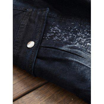 Zip Fly Flap Pocket Pleated Biker Jeans - GRAY 32