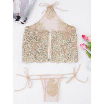 Halter Mesh Applique Tank Top - LIGHT GOLD ONE SIZE