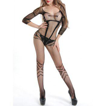 Sexy Fishnet Bodystocking with Sleeves - BLACK BLACK