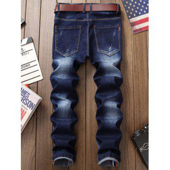 Zip Fly Patched Straight Jeans - DEEP BLUE 36