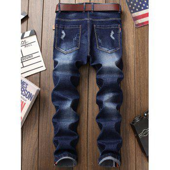 Zip Fly Patch Design Distressed Jeans - DEEP BLUE 34