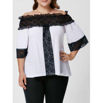Plus Size Lace Panel Off The Shoulder Top