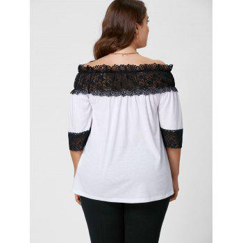 Plus Size Lace Panel Off The Shoulder Top - WHITE WHITE