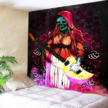 Wall Decor Flowers Halloween Playing Guitar Skull Tapestry - COLORFUL W79 INCH * L71 INCH