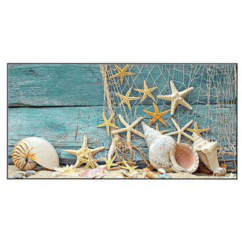 Wood Grain Starfish Printed Soft Bath Towel - TURQUOISE TURQUOISE