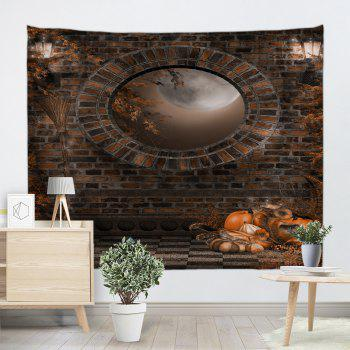 Halloween Brick Wall Print Tapestry Wall Hanging Art - BROWN W79 INCH * L71 INCH