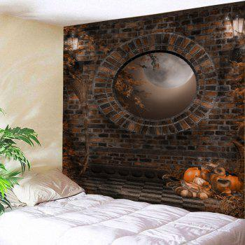 Halloween Brick Wall Print Tapestry Wall Hanging Art - BROWN W91 INCH * L71 INCH