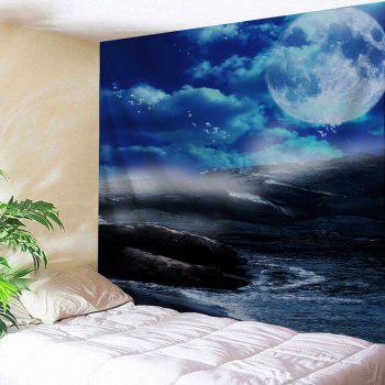 Moon Sea Rocks Print Tapestry Wall Hanging Art - BLUE W91 INCH * L71 INCH